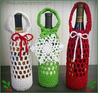 The Festive Bottle Cozy is a free crochet pattern and is part of the Holiday Stashdown CAL 2015.