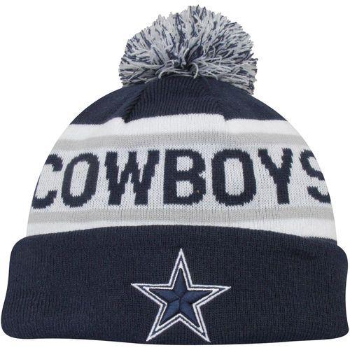 Dallas Cowboys New Era Biggest Fan Redux with Pom Knit Hat - Navy Blue/White