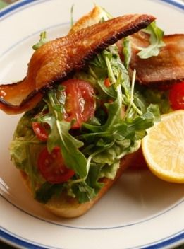 Strong Snack Game at Ludlow Coffee Supply -- The BLT, with double-smoked bacon, grape tomatoes, and arugula.