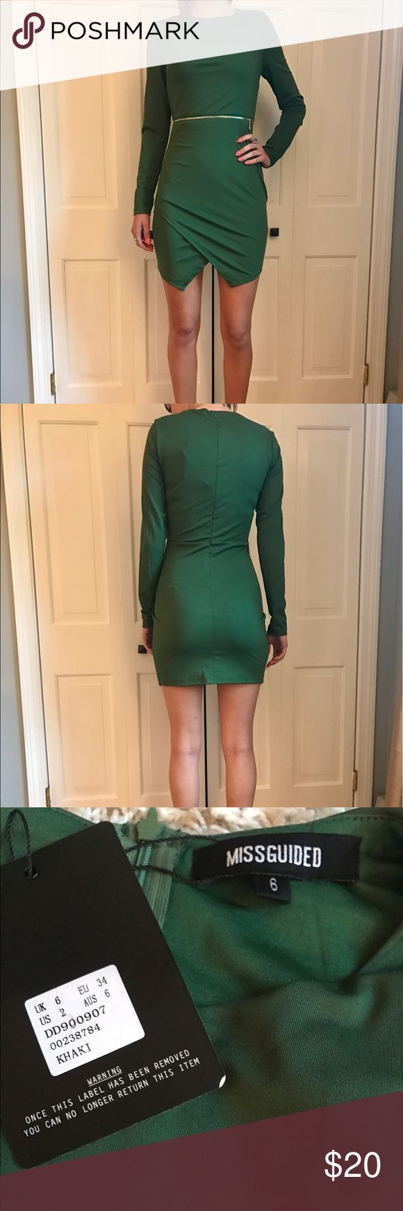 Gorgeous Missguided Green Dress Long sleeve green bodycon dress with front slit and accessory gold zipper at the waist. Missguided Dresses Long Sleeve