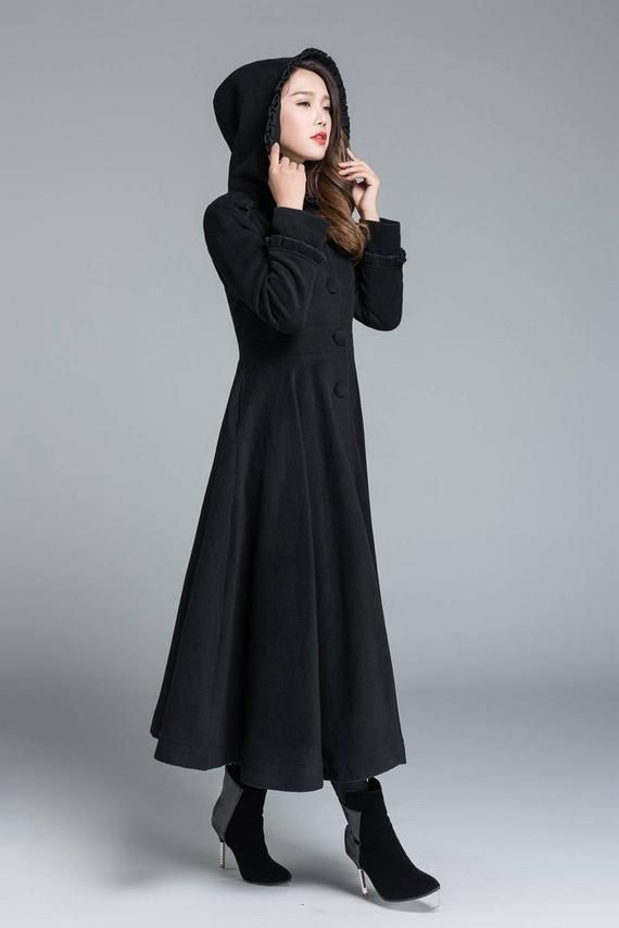 88c03d55a Black coat, wool coat, princess coat, long trench coat, swing coat ...