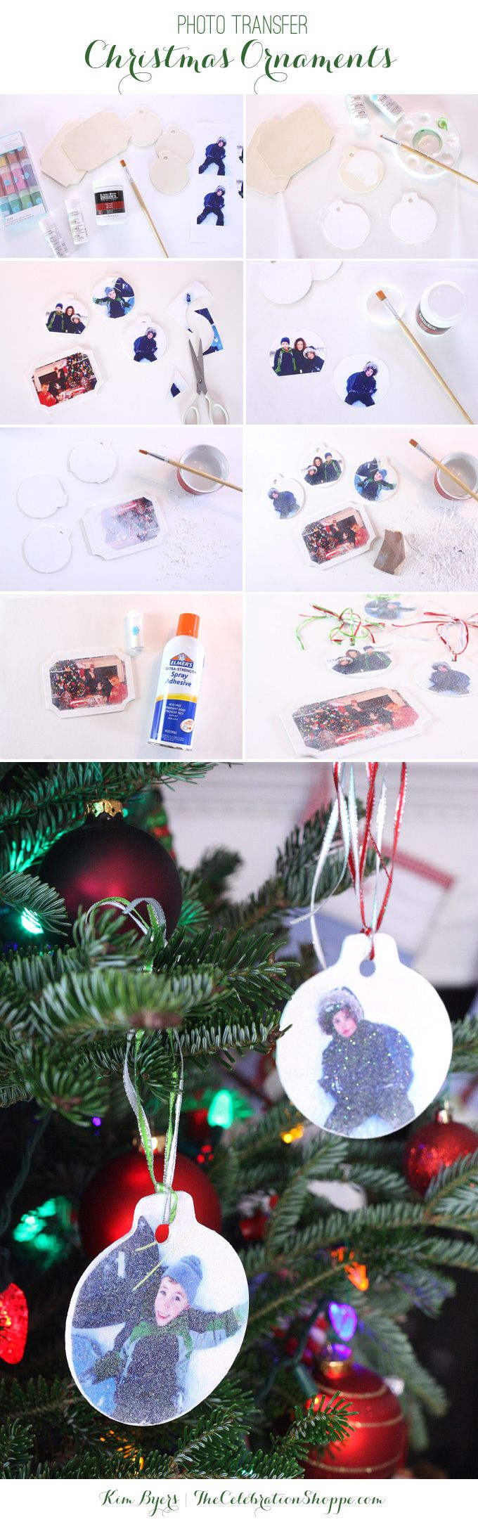 Make your own family ornaments using photos, wooden ornaments, Elmer's  spray adhesive, glitter, and a few other simple craft supplies.