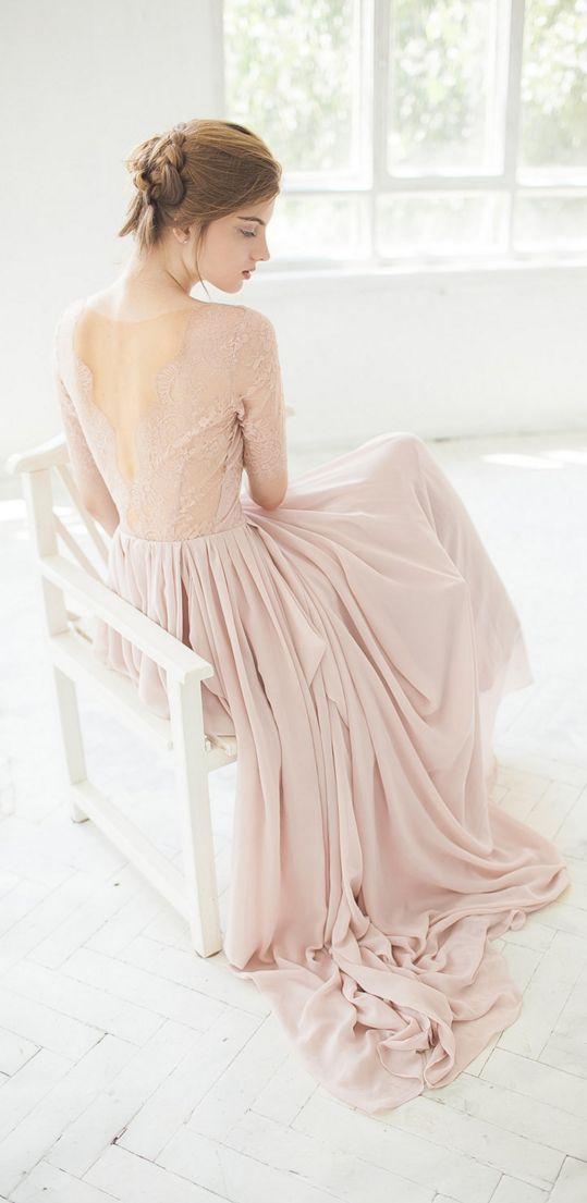 Blush pink wedding gown // elegant, romantic, sophisticated, unique!