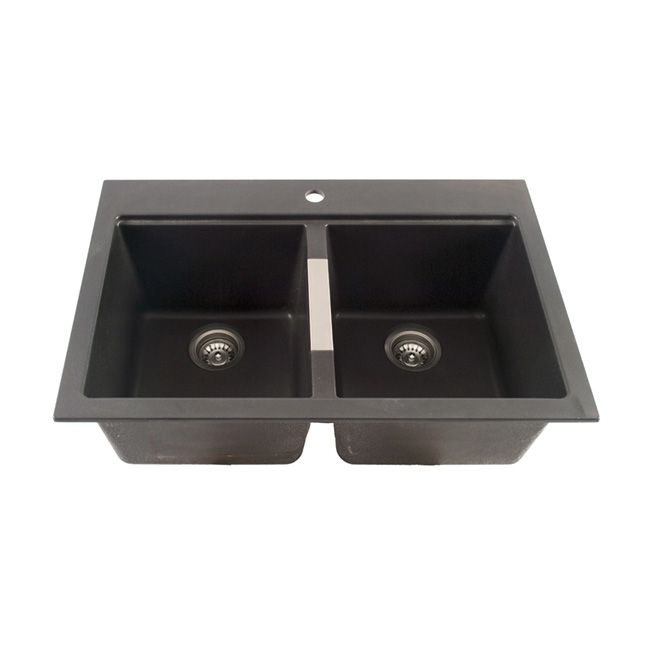 Composite Granite Double Kitchen Sink - Black | RONA