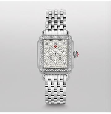 Deco 16 Fleur Diamond, Diamond Dial Watch Limited Edition of 500 The beloved Deco 16 Diamond is even more stunning with a dial featuring a floral pattern. 171 diamonds sparkle on the case and dial in this feminine and sophisticated timepiece. The 7-link stainless steel bracelet is interchangeable with any 16 mm MICHELE strap.