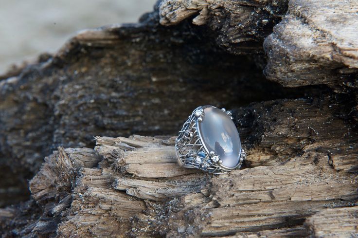 "Ring by Donna Yolka ""Bella Principessa"" with rose quartz and CZ, sterling silver."