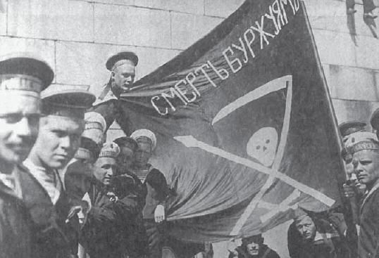 "Anarchists in the Russian Revolution. Sailors of the battleship Petropavlovsk in Helsinki; black flag calls for ""death to the bourgeoisie""."