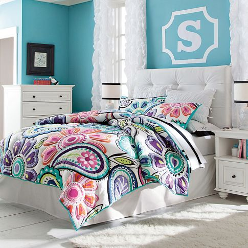 Kennedy Paisley Quilt + Sham | PBteen. Love this bedding and the wall color (Taylor)