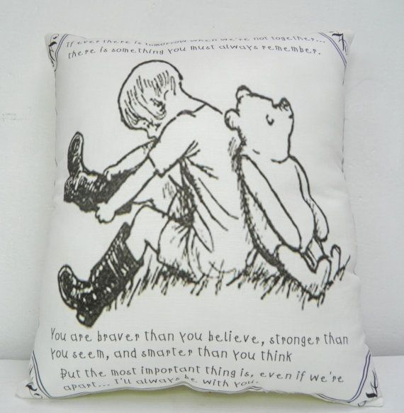 Winnie the Pooh Pillow Classic Image & Quote by TheSewingCroft, £12.00