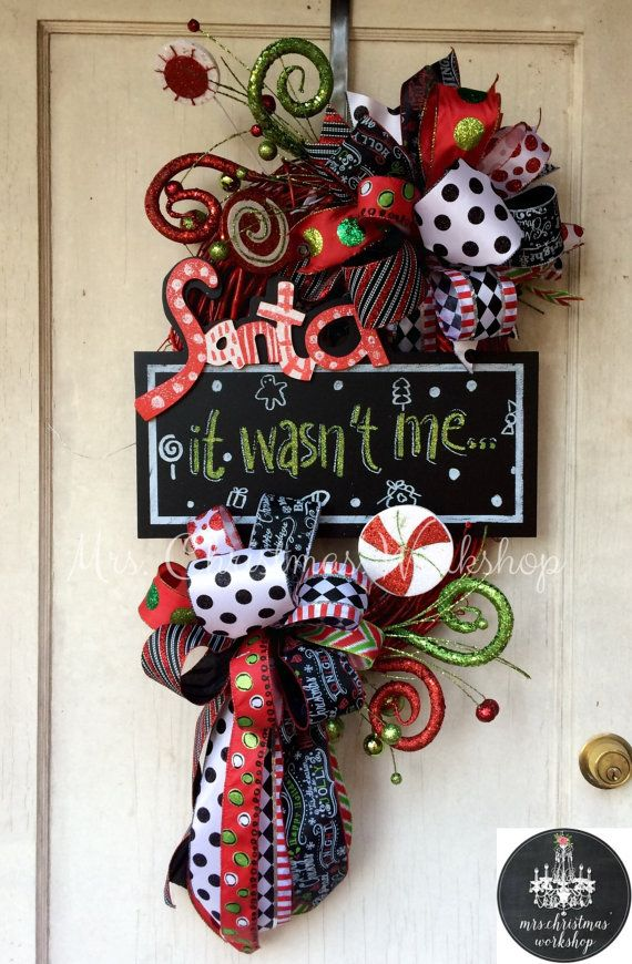 Christmas wreath grapevine wreath deco mesh wreath funky bow wreath chalkboard Santa it wasn't me