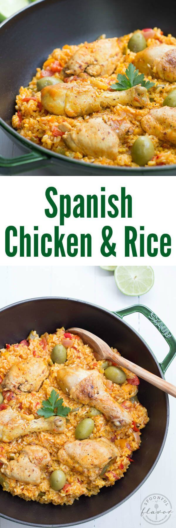 Spanish Chicken and Rice - a one pot meal with fresh ingredients and spices! Arroz Con Pollo is perfect for the entire family!