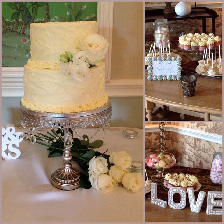 Vintage inspired buttercream cake with fresh flowers and dessert table that includes mini cupcakes, cake pops, cookies & macarons. www.kellylou.com