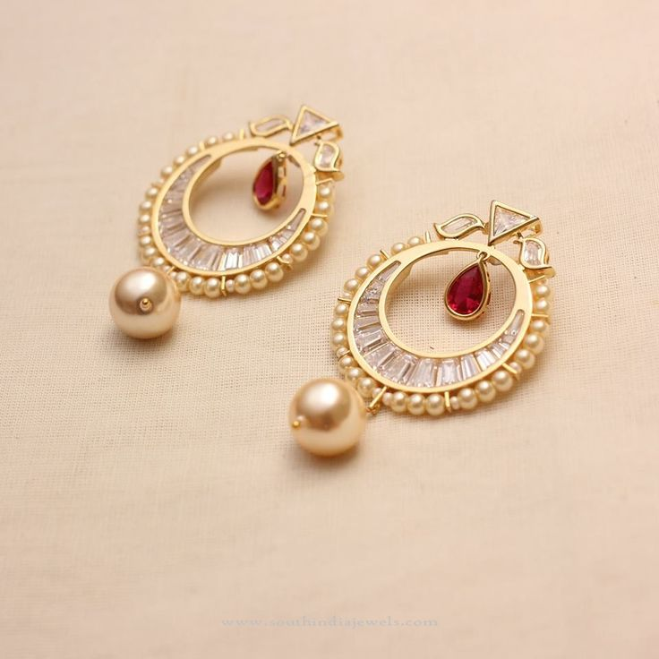 Gold Plated American Diamond Earrings, Gold Plated AD Earrings Designs.