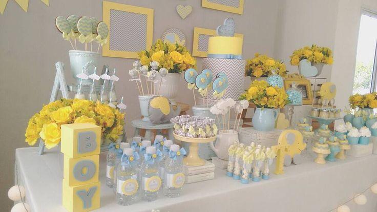 """155 curtidas, 16 comentários - Arte Coisa e Tal (@artecoisaetal_) no Instagram: """"Hoje foi dia de Chá de Bebe... Elefantinho amarelo, cinza e azul... apaixonada ❤❤❤"""""""