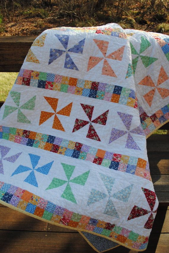 Patchwork Quilt Reproduction 1930's Feedsack Lap by sweetjane, $250.00