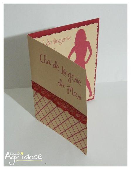 Convite para chá de lingerie - Renda Vermelha.  Tamanho do convite: 14,5 x 20,5.  Feito no papel especial linho, acabamento interno com corte especial e externo com renda. R$ 5,10