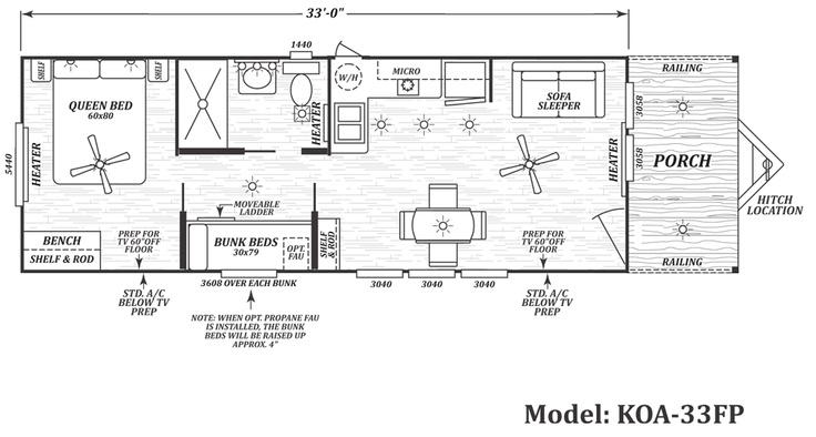 Floor Plan Koa 33 Fp Koa Deluxe Cabins By Cavco House