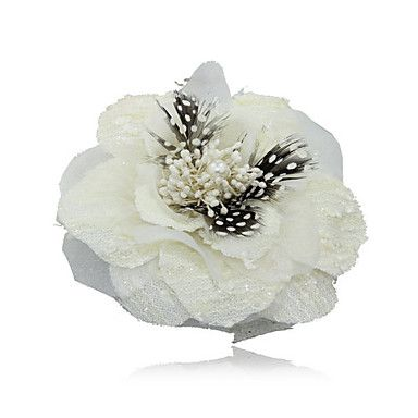 Linen With Feather/ Imitation Pearl Wedding Bridal Flower/ Corsage/ Headpiece – AUD $ 11.87