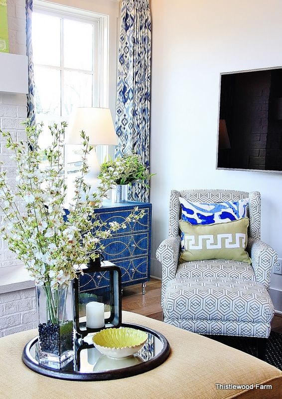 How to Decorate With Color:  HGTV Smart Home - Love the ikat print in curtains - pxe