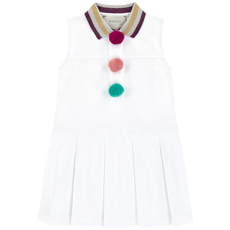 Cotton piqué Super stretch Top: Contrast collar Stripes Sleeveless Pleated skirt Box pleats under the waistband Snap buttons on the chest Fancy bobbles - 267.74 €