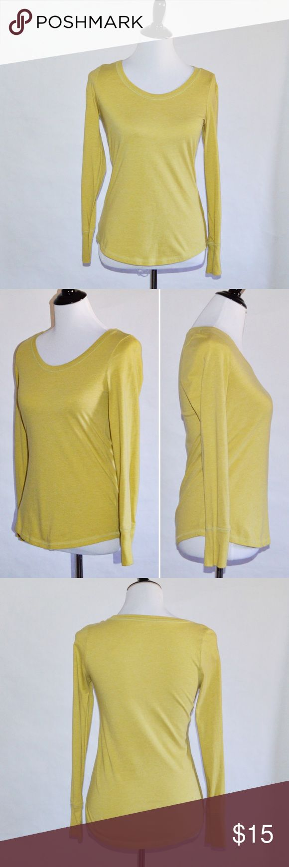 "Yellow Long Sleeves Top Yellow Long Sleeves Top 60% Cotton / 40% Polyester  Good condition. Worn a few times. Love the color.   Measurements Medium-Chest:17"" across / 34"" around, Length:24"", Sleeve Length:23.5""  🔆Bundle 2 items = 10% OFF 🔆Bundle 3 or more = MAKE OFFER ❌ No Trades Mossimo Supply Co. Tops Tees - Long Sleeve"