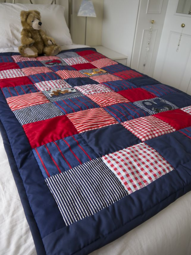 Patchwork quilt boys bedroom single bed navy, red and white vintage fabrics £65.00