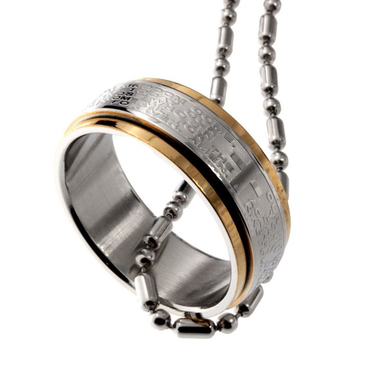 R.H. Jewelry Stainless Steel Pendant, Rotating Holy Rosary Two Tone Band Ring. High quality stainless steel. Rotating Size 9 band ring. one 50 CM Fine Stainless steel ball chain included. Use it as ring or pendant. Holy Rosary The Lords Prayer in English.