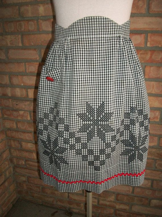 Black and White Gingham/Checkered Vintage Half Apron with Embroidery & Red Accents