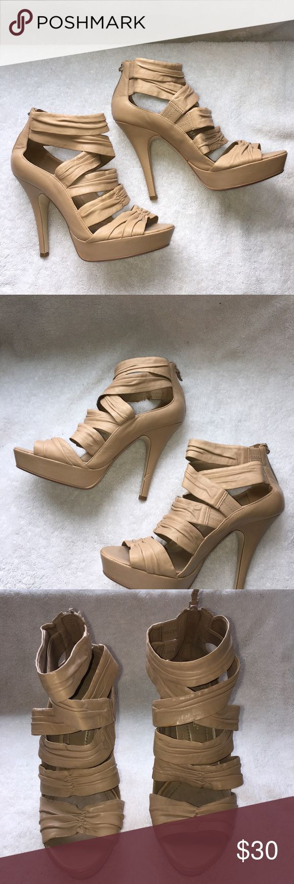 """BCBGeneration Strap Platform Heels Brand:  BCBGeneration Style:  Unk Size:  7.5 Color:  Nude  Features: — Leather upper — Ankle back zip up — Elastic Ankle sides — 4"""" leather covered heel — 1"""" leather covered platform   🛍 Slightly Used - Excellent Condition BCBGeneration Shoes Heels"""