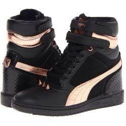 puma black/ gold stripe high heel trainers sky top