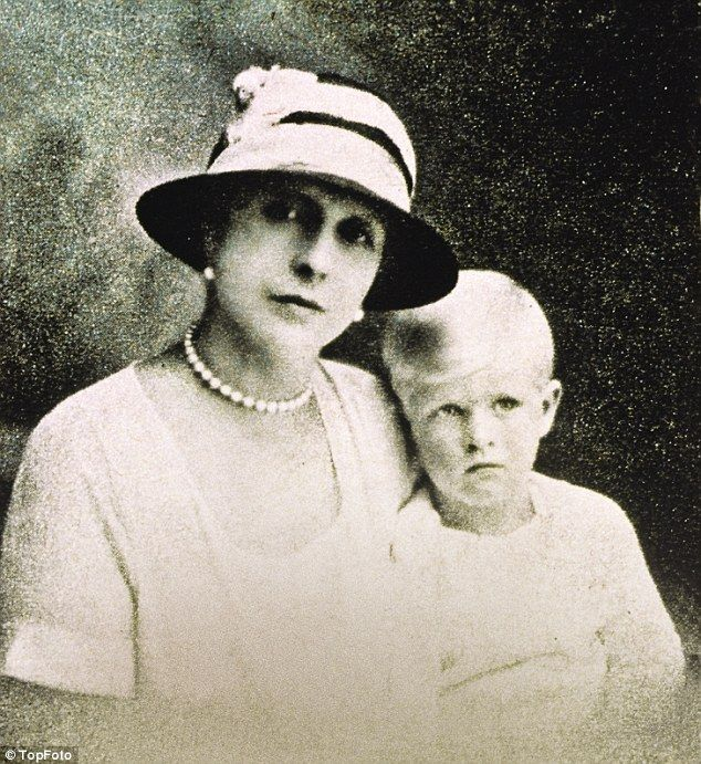 Prince Philip with his mother Princess Alice of Greece in 1957. Alice was a loving mother but enforced separation from her young son helped to forge Prince Philip's self-reliant, sometimes cussedly independent spirit.