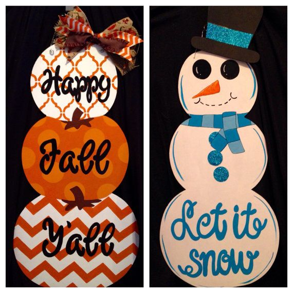 Reversible Stacked Pumpkin and Snowman Door by MyBelovedReclaimed