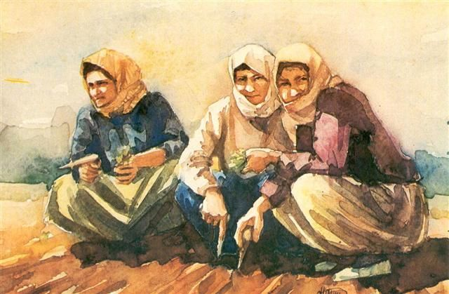 suluboya tablo köylü kadınlar