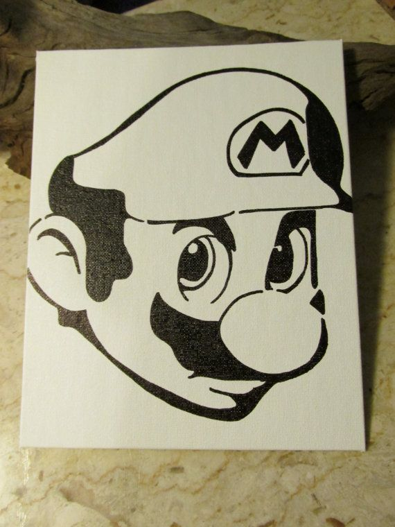 """Easy Bedroom Drawings: Mario Bros Permanent Marker Drawing On Canvas 8"""" X 10"""