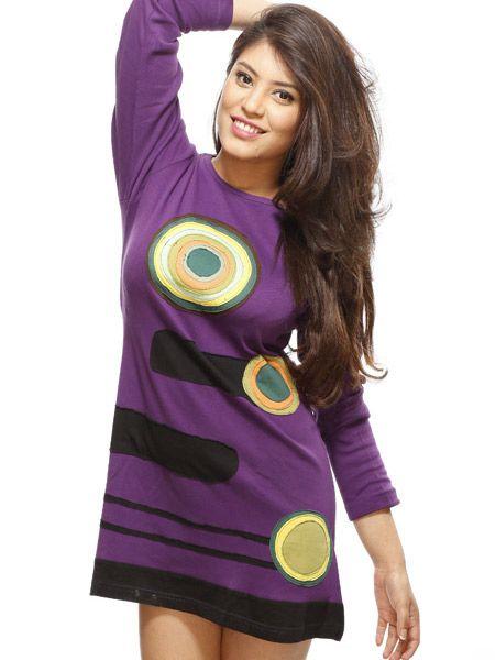 Modern trance hippie long sleeve cotton dress. Made in the Kathmandu Valley.