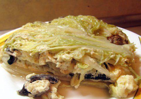 Фото рецепта: Китайская капуста, запеченная с грибами