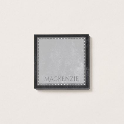 Onyx Office | Name Black Velvet Matte Classic Chic Post-it Notes - pattern sample design template diy cyo customize