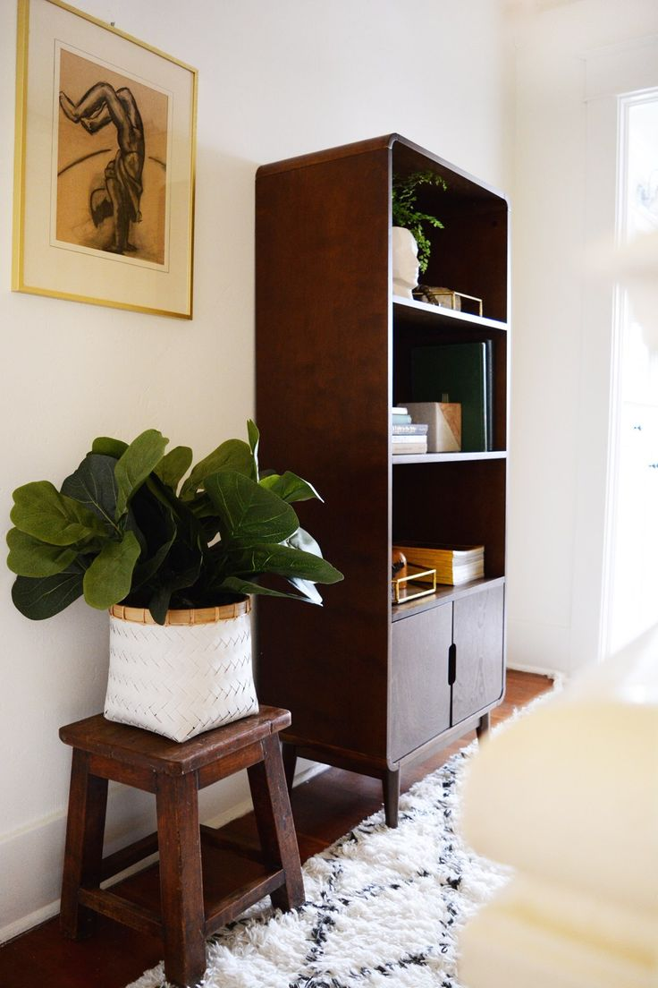 hayneedle midcentury bookcase and a hallway makeover