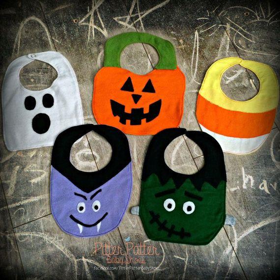 Halloween Bibs Frankenstein Vampire Candy by PitterPatterBabyShoe
