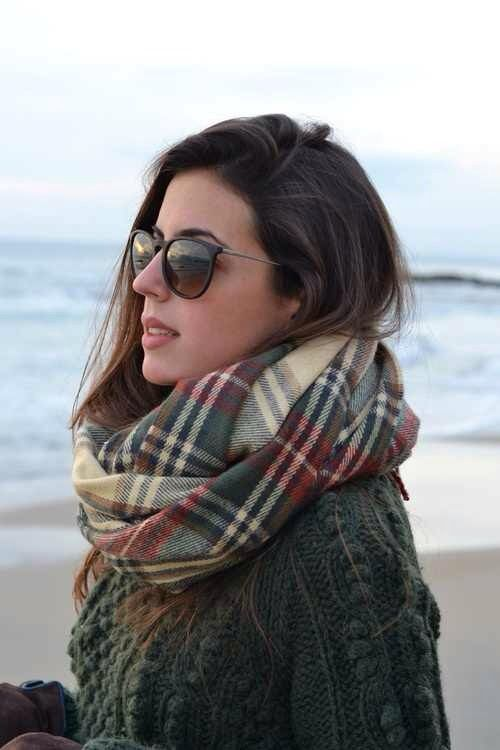 erika ray bans, plaid scarf, knit sweater