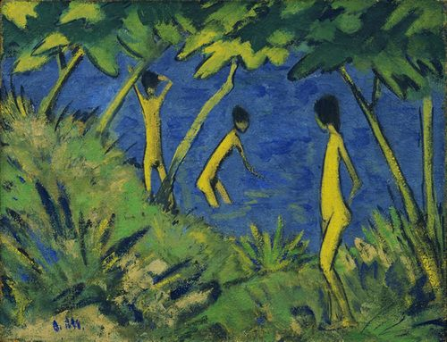 Otto Mueller - Landscape with Yellow Nudes (1919)