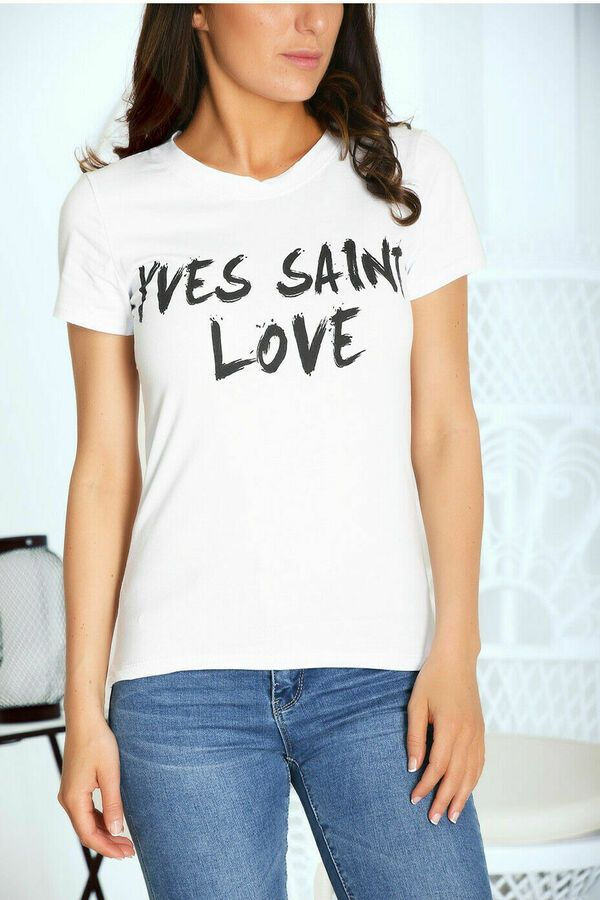 Womens Ladies Short Sleeve /'Yves Saint Love/' Slogan Printed T-shirt Tee Tops