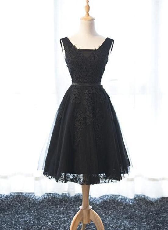 dd8ab13393 Lovely Black Tulle Homecoming Dress 2019