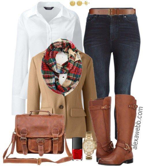 Plus Size Tan Blazer Outfit - Plus Size Fashion for Women #alexawebb #plussize #fall #outfit