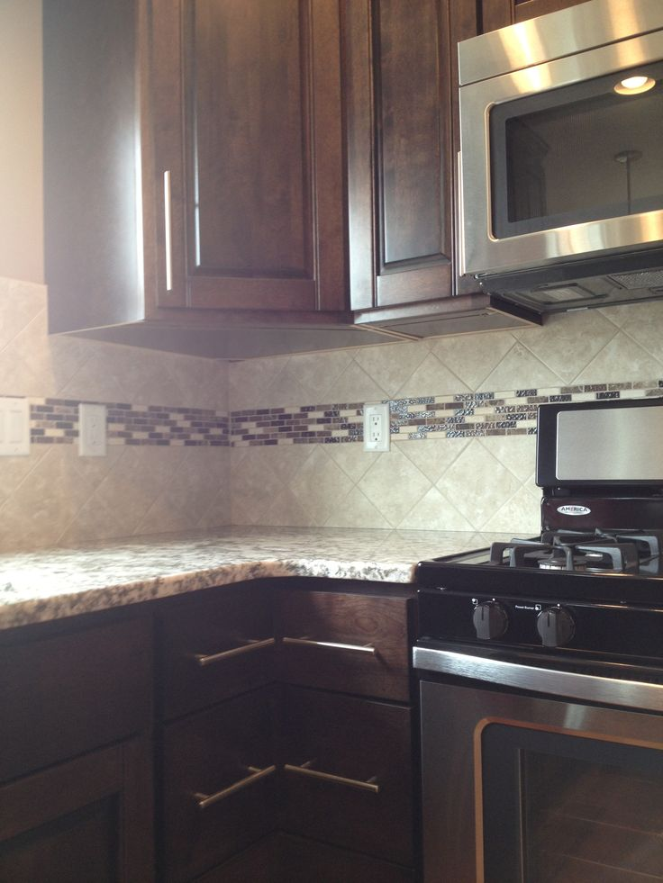 Kitchen Backsplash With Accent Strip With Images Tile Backsplash Kitchen Dark Cabinets