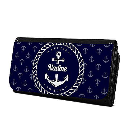 4ff6287b06f75 Geldbörse mit Namen Nadine - Design Anker - Brieftasche Geldbeutel  Portemonnaie personalisiert für Damen und Herren