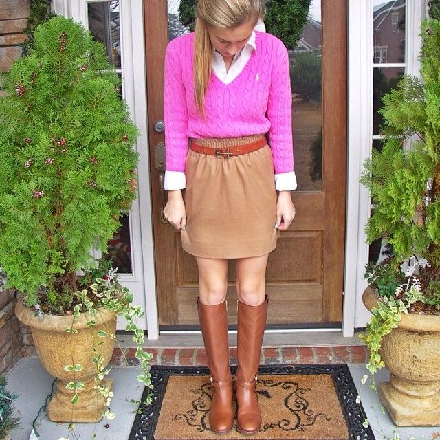 oxford + cable knit + paper bag skirt + belt + boots = prepfection