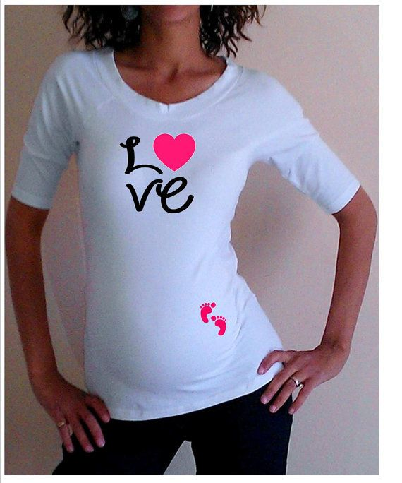 cute love maternity shirt with footprints white