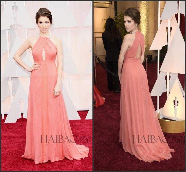 87th Oscar Evening Dresses Anna Kendrick Celebrity Chiffon Halter A-Line Sleeveless Long Party Formal Dresses Red Carpet Vestido De Noche Online with $106.43/Piece on Hjklp88's Store
