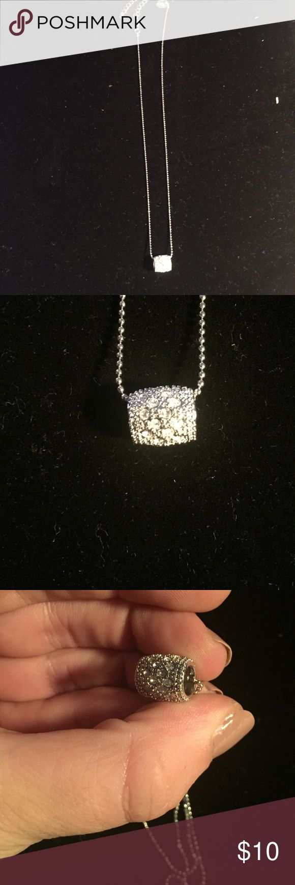 Lia Sophia Barrel Necklace Barrel faux diamond pendant. Adjustable between 16 and 19 inches in length. Lia Sophia Jewelry Necklaces